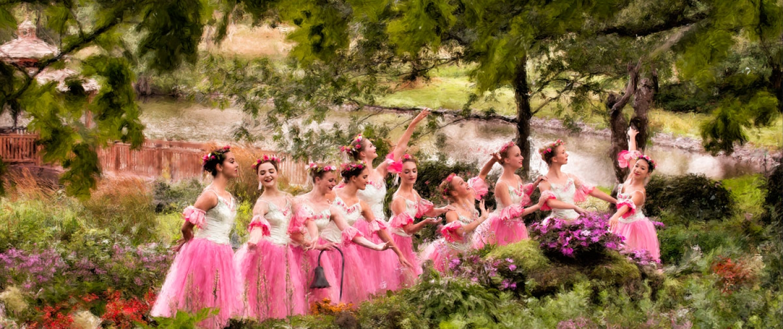 Painted portrait of BYDE ballet dancers in flower garden