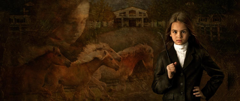 Portrait montage of equestrian rider
